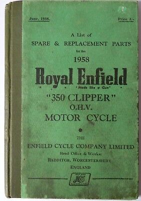 Royal Enfield 350 Clipper OHV Spare Parts List - 1958