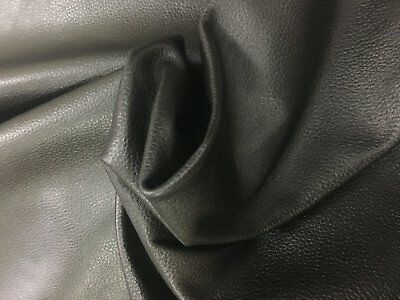 Leather Cow Hide 2 Black 1.1/1.3mm thick pliable soft fine grain 12 sq ft