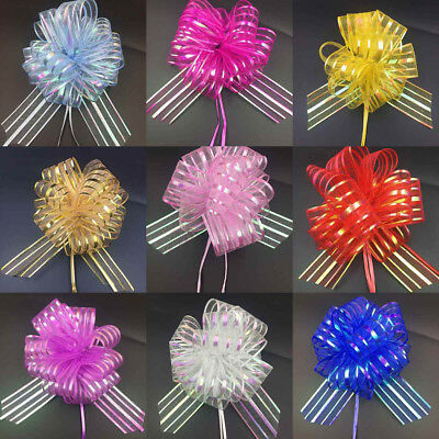 50MM Large Pom Pom Bow Organza Ribbon Pull Bows Wedding Party Gift Wrap
