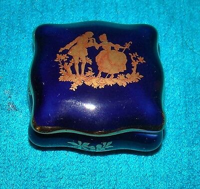 Limoges Cobalt Blue Trinket Box with Gold Trim, Man and Woman
