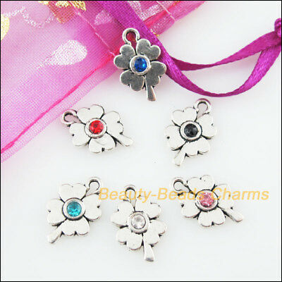 12 New Charms Clover Flower Mixed Crystal Tibetan Silver Tone Pendants 9.5x15mm