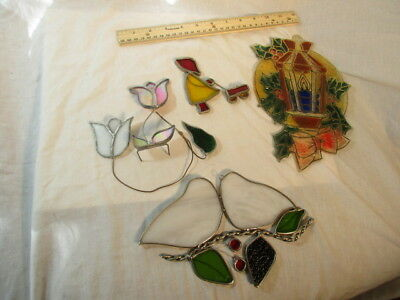 5 Vintage Stained Glass Suncatchers Girl With Wagon Doves Flowers House Plastic