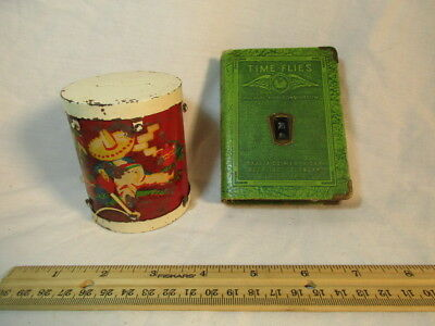 2 Vintage Metal Coin Piggy Bank Time Flies Book Of Thrift & Mexican Hat Drum Old