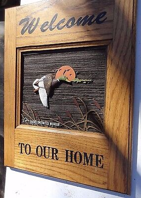 DUCKS UNLIMITED Member CARVED WOOD Wall Sign WELCOME to our Home Culbertson Gift
