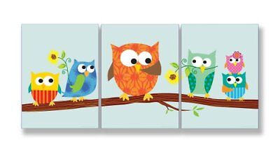 The Kids Room by Stupell Owls On A Branch With Sunflowers 3-Pc. Rectangle Wal...