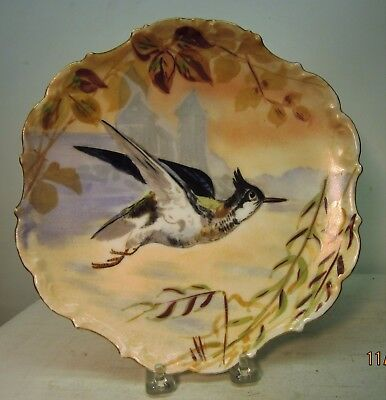 Antique Limoges Flambeau Hand Painted Bird Plate Charger France Signed