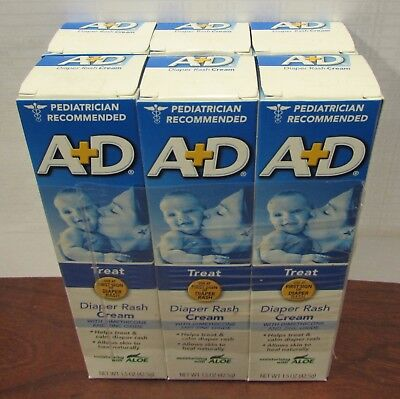 6 Tubes A+D Treat Diaper Rash Cream with Aloe 1.5oz PER Tube x 6 NEW SEALED