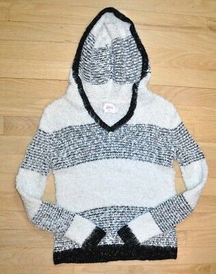 Justice Fuzzy Black White Hooded Hoodie Pullover Sweater Girl's Size 12 Large