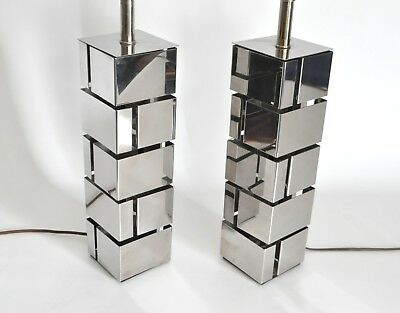 Laurel Vtg Mid Century Modern Metal Chrome Sculpture Cube Lamp Jere Sciolari Mcm