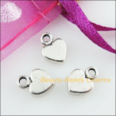30 New Charms Smooth Lovely Heart Tibetan Silver Tone Pendants 6.5x9mm