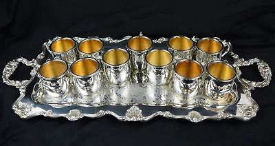 Set of 11 International Silver Co Silverplate Cups with Tray