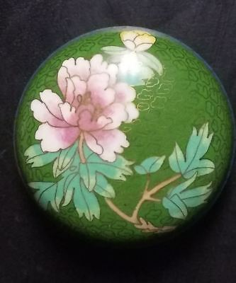 "3-1/8"" Antique Japanese Meiji Cloisonne Round Trinket Box"