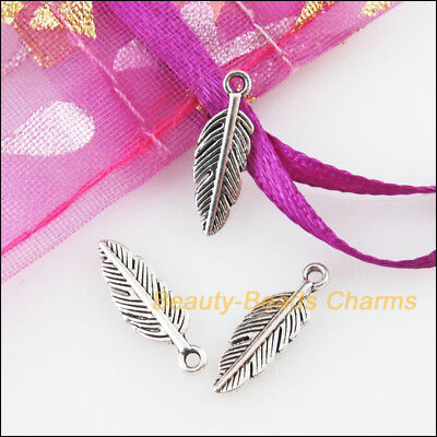 40 New Charms Tiny Leaf Feather Tibetan Silver Tone Pendants 4.5x14.5mm