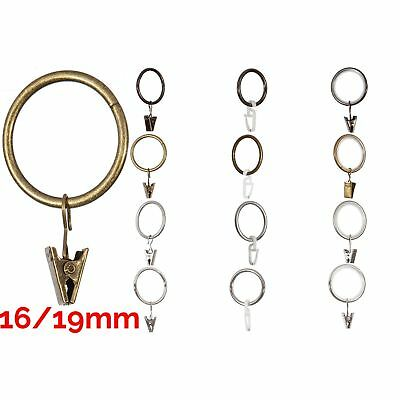 Curtain Metal Rings & Clips or Plastic Hooks For 16/19mm Pole/Rod 4Color & 3Type