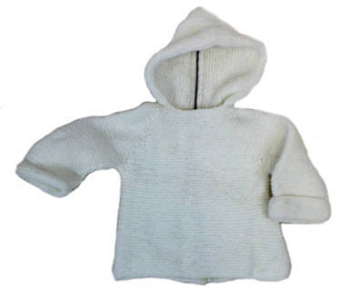 handmade baby sweater • white baby hoodie • vtg baby knit cardigan • size 12 mos