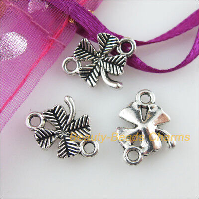 20 New Charms Flower Clover Tibetan Silver Tone Pendants Connectors 12x15mm