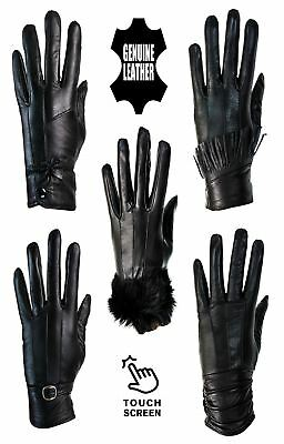 Womens Real Leather Winter Gloves Fur Fleece Lined Warm Ladies Gift Touch Screen