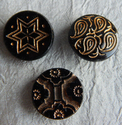 Lot of Antique Vintage Black Glass Button w/ Gold Luster Paisly Star #319-A