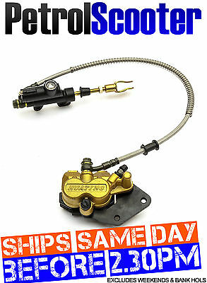 Pitbike Twin Pot Rear Wheel Hydraulic Foot Brake Disc Calliper Master Cylinder