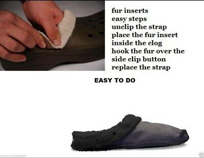 Replacement Liners Insoles Inserts For Crocs Slippers Clogs Shoes Black Warm Fur