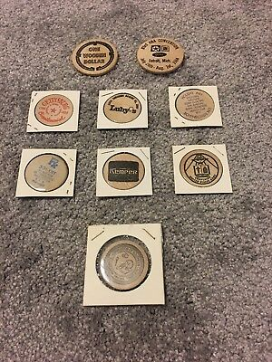 Lot Of 9 Wooden Coins HEB Luby's Kemper Ford Army Holiday Inn GM Chrysler Misc