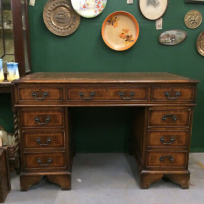 Antique Style Leather Topped Twin Pedestal Writing Desk with lock and key