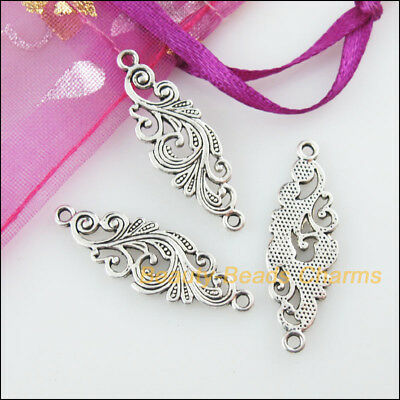 8 New Charms Flower Clouds Tibetan Silver Tone Pendants Connectors 9.5x29.5mm