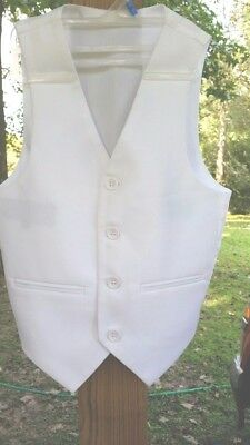 Boys White Vest Size 5 Suit Church Wedding Formal Tuxedos Polyester Tie Back