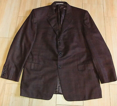 Hickey Freeman Brown Check 52% Silk Single Breast Blazer Jacket 46 R MINT!