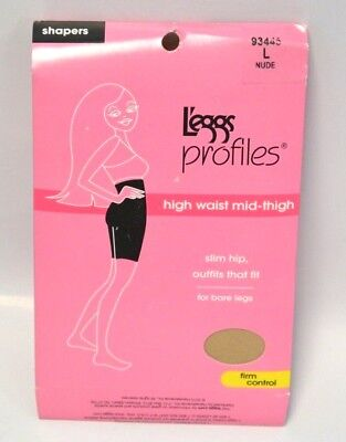 L'eggs PROFILES 93445 shapers Large Nude high waist mid thigh firm Leggs NOS