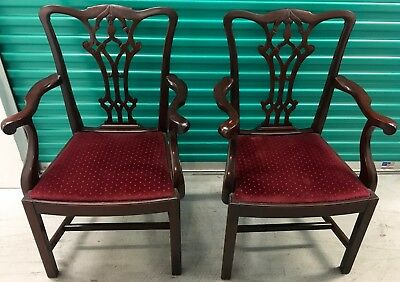 Set of six Chippendale style Mahogany Dining Chairs.  Two arm and four side