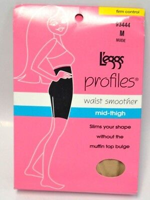 L'eggs PROFILES 93444 Medium Nude Mid Thigh SMOOTHER firm control Leggs NOS