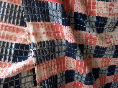 "Coverlet Hand Woven 1800's Era ""antique"" W/damage Total Length & Width Is 36"" X"