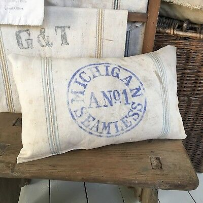 Vintage Michigan Seamless Grain Sack Pillow Farm Old Antique Feed Seed Flour Bag