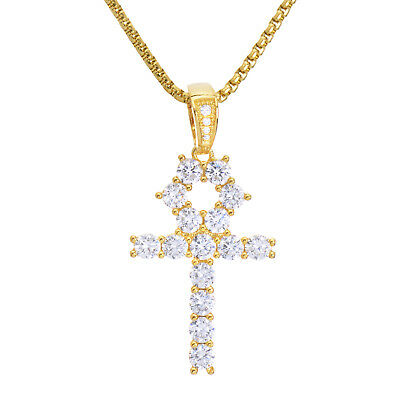 """Men's Iced Stone Ankh Cross Pendant 22"""" Stainless Steel Chain Necklace BSH 13108"""