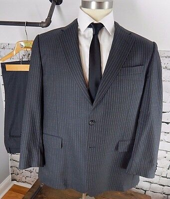 Hickey Freeman Gray Pinstriped 100% Wool Recent Suit Sz 42R