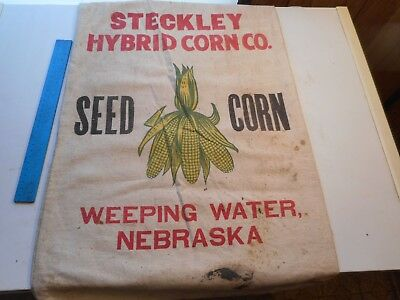 Vtg Cloth Seed Sack Steckley Hybrid Corn Co. Weeping Water Neb. Green/yellow