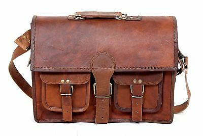 Men's Rare S Leather Vintage Laptop Messenger Handmade Briefcase Bag Satchel