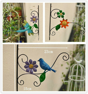 New Retro Iron Wall Mount Garden Hanging Plant Basket Hanger Hook Garden Decor