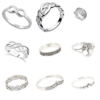 Men's 925  Sterling Silver Mixed CELTIC  Design Rings IN Sizes G-Z
