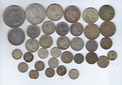 LOT OF 35 Foreign Silver Coins Various Collectibles Mostly Canada Silver Coins