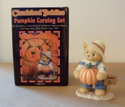 Cherished Teddies in original box - Ed with Pumpkin Carving Tools #466220 - 1999