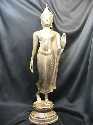 Large Antique Thai Bronze Standing Buddha with Beautiful Patina