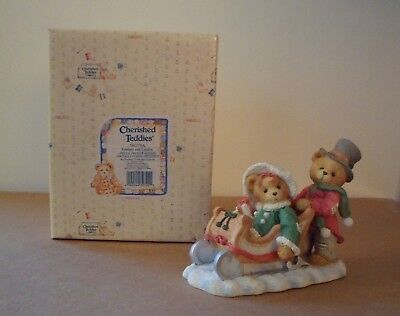 Cherished Teddies in box - Lindsey and Lyndon in Sled - Item #141178A