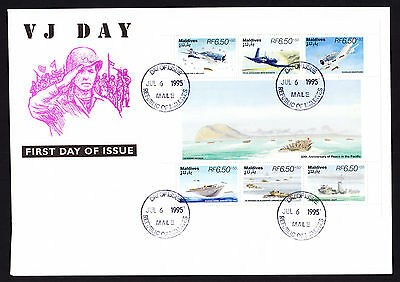 Maldives 1995 VJ First Day Cover War Aircraft Military Ship Plane stamps Pacific