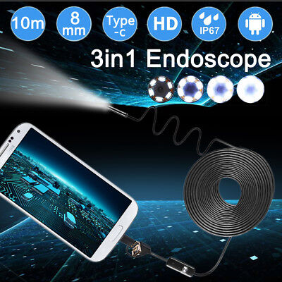 1200P 10M 8LED 3 in1 Rigid Endoscope USB C Inspection Camera IP68 for Android PC
