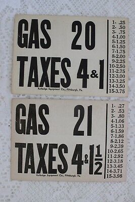 2 Vintage 1940's Gas (Tax)  Pump Price Card Rutledge Equipment Co Pittsburgh Pa