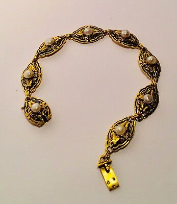 French Vintage Antique:18 ct Gold Bracelet with Natural Pearls1890(Victorian)