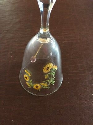 Vintage 1980s Avon Glass Lead Crystal Birthday Bell for October Painted Flowers