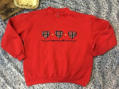 Vintage Triples Plaid Heart Embroidered Sweatshirt - Women's Large
